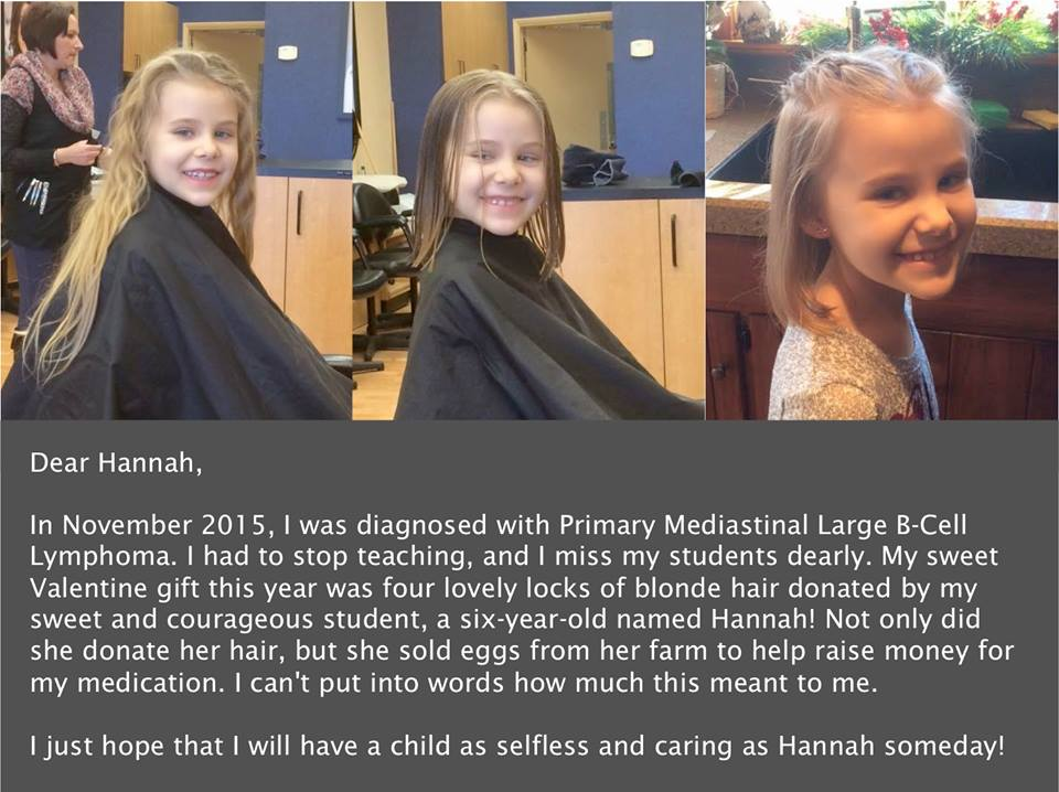 Hannah donating her hair for Teacher Abigail Ackerman