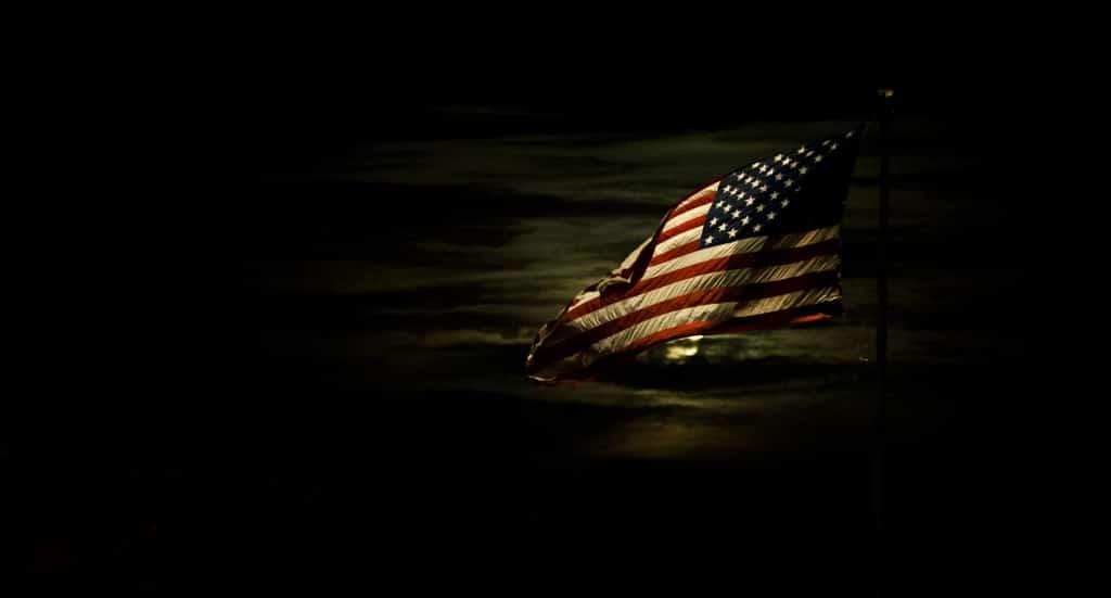 American Flag lit by moonlight, via Flickr
