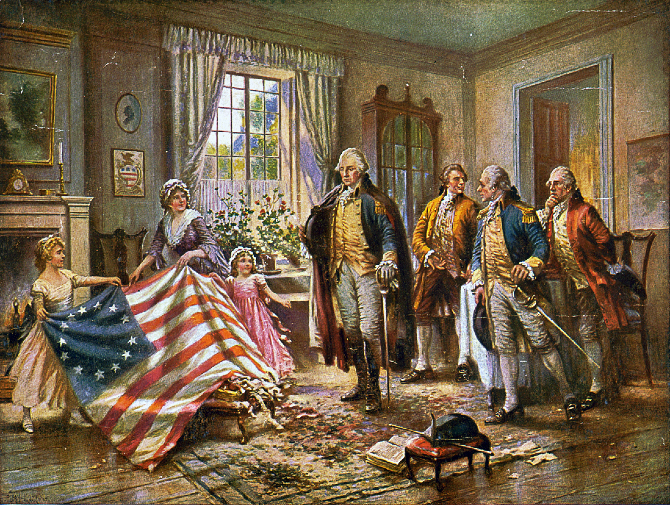 Betsy Ross and Washington, the first sewn American Flag
