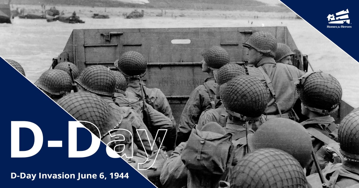 Soldiers in world war II on a boat about to land on the beach of Normandy for D-Day