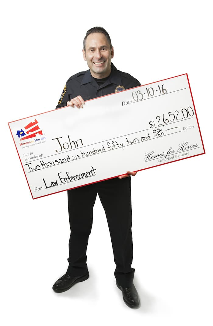 Police Officer with Hero Rewards Check