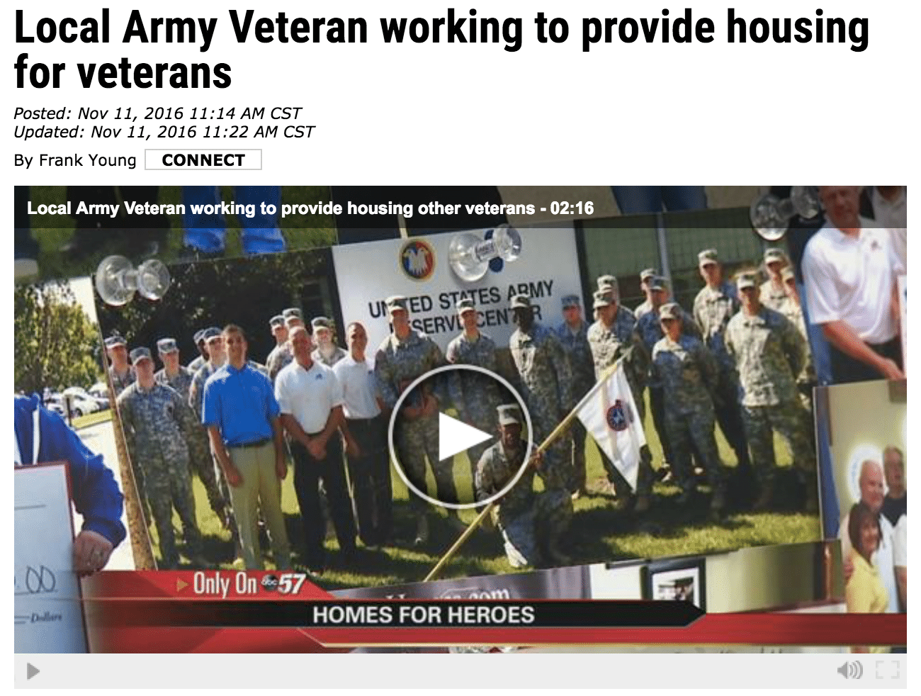 Jim McKinnies on Veterans Day, Homes for Heroes
