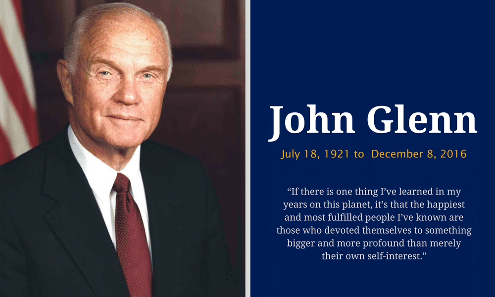 the life and times of john herschel glenn jr John herschel glenn jr facts: john herschel glenn, jr (born 1921 - died 2016) was a military test pilot, astronaut, businessman, and us senator from ohio in.