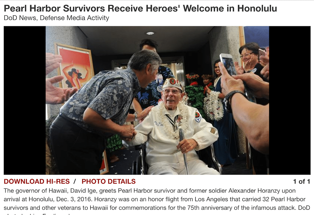 US Department of Defense- Pearl Harbor Survivor