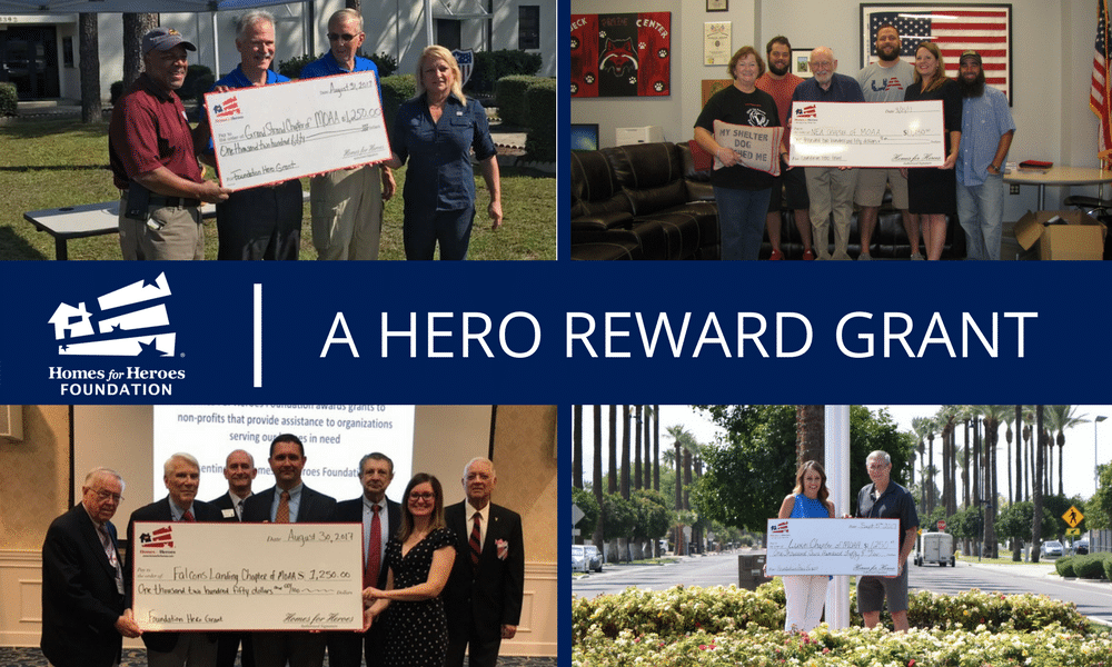 Homes for Heroes Specialists present four MOAA chapters with grants of $1,250 each.