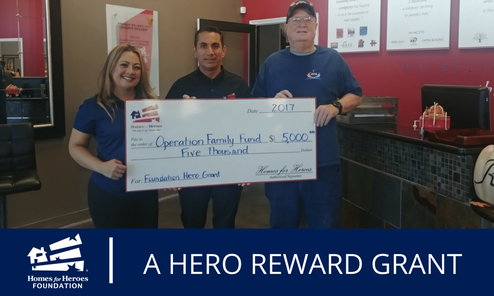 Homes for Heroes Specialists Joy Murphy and Dean Henderson gave Operation Family Fund a grant of $5,000 on behalf of the Homes for Heroes Foundation