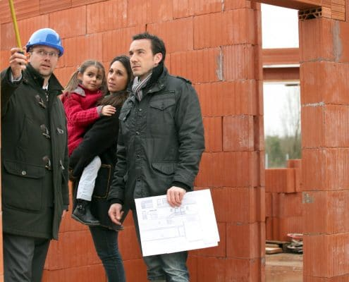 city inspector goes through inspection with a family