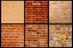 six different styles and colors of brick