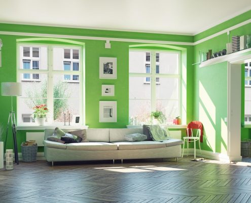 green the modern living room interior