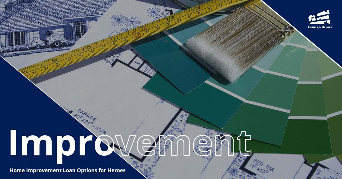 Blue and Green paint swatches are fanned out over blueprints of a house along with a pain brush and tape measurer