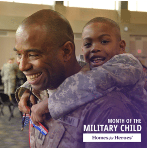 Little boy in military camo getting a piggy back ride from his dad also wearing military camo uniform
