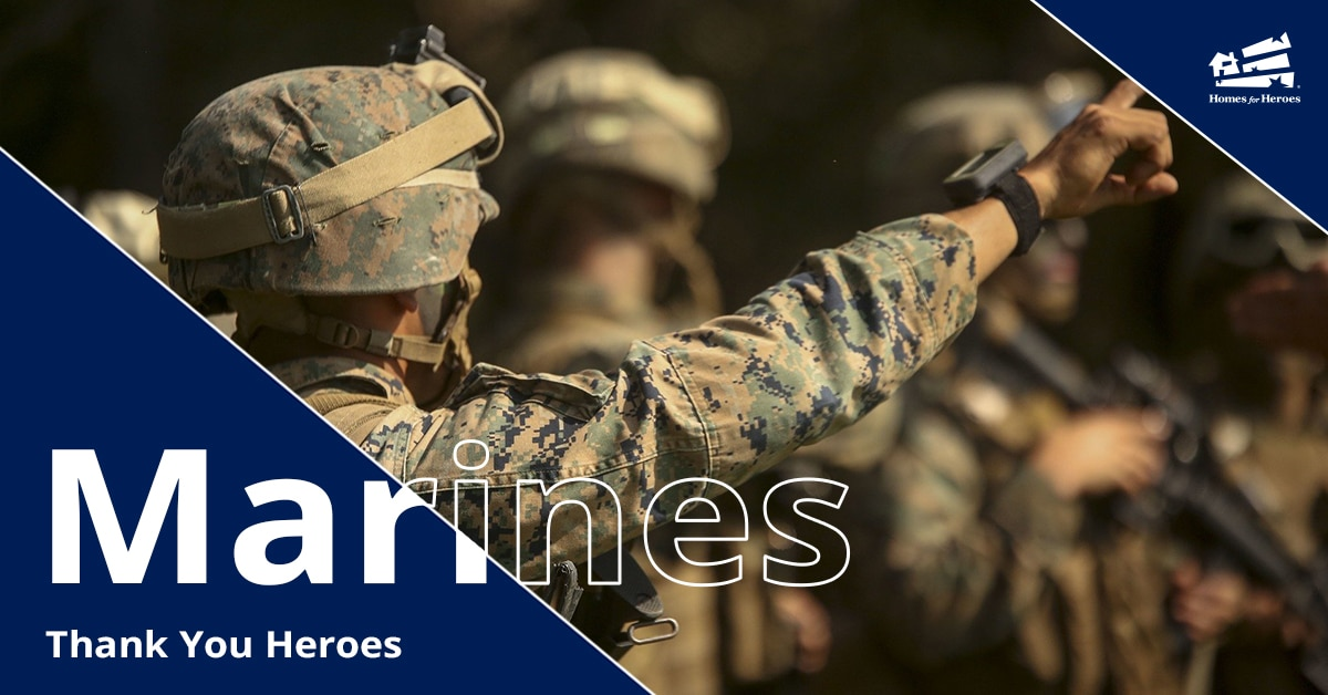 United States Marines in formation wearing combat camo gear with one marine pointing forward