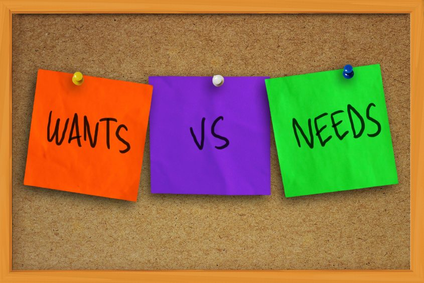 home buying checklist - wants vs needs