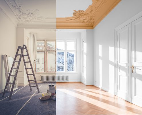 room before and after renovation