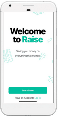 Apple iphone with savings app, Raise