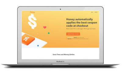 Laptop computer with online savings website, Honey
