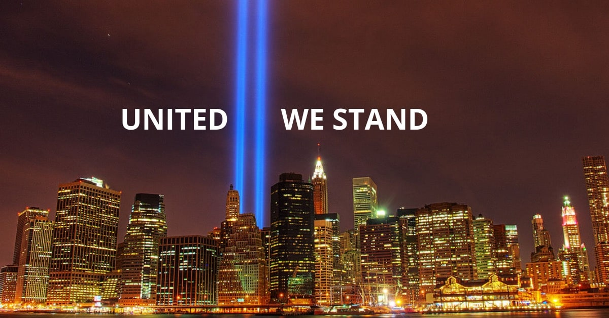 911 17th Anniversary Twin Tower Lights United We Stand
