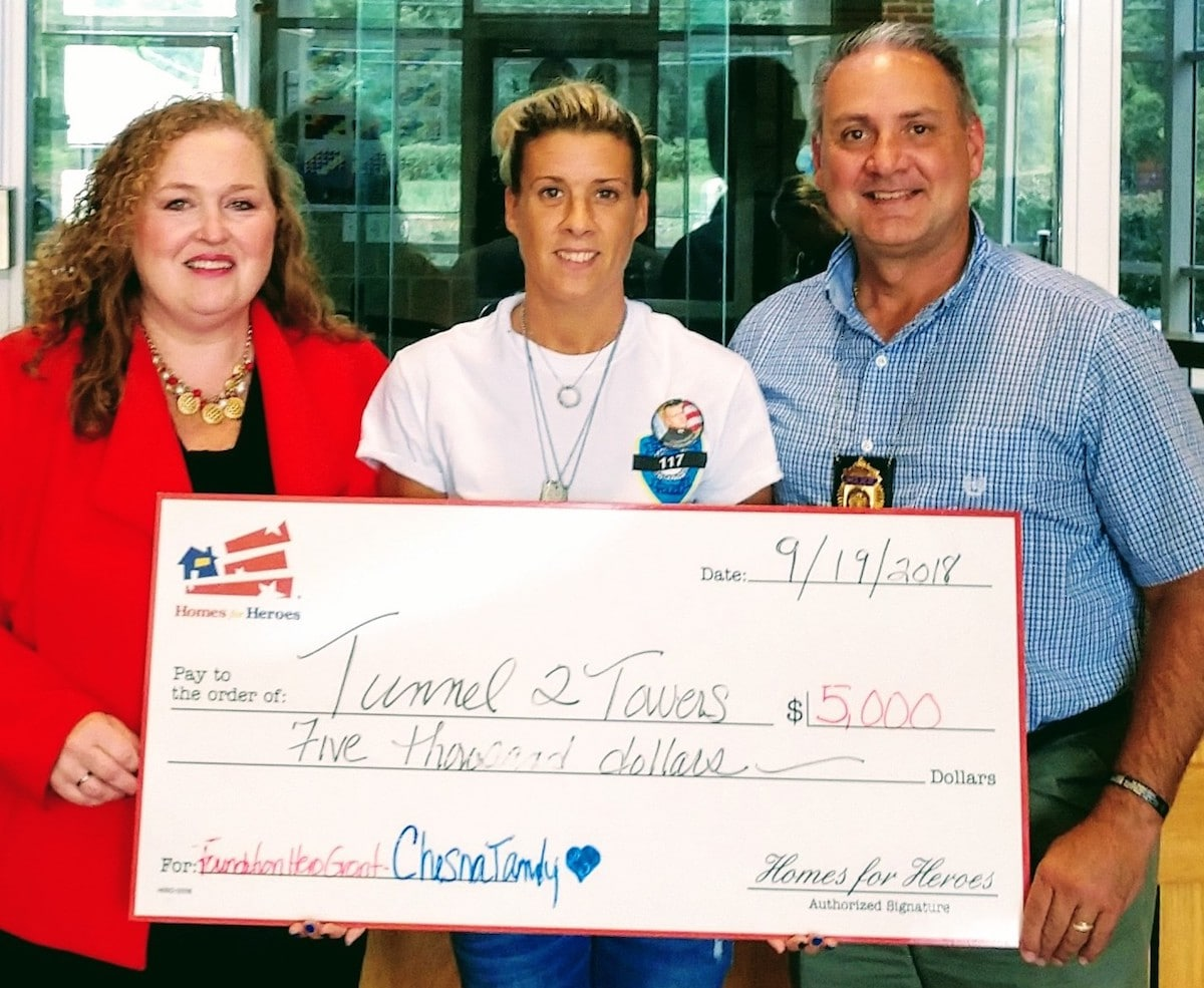 Homes for Heroes Foundation 5000 Grant Check to Cindy Chesna Captain Comperchio