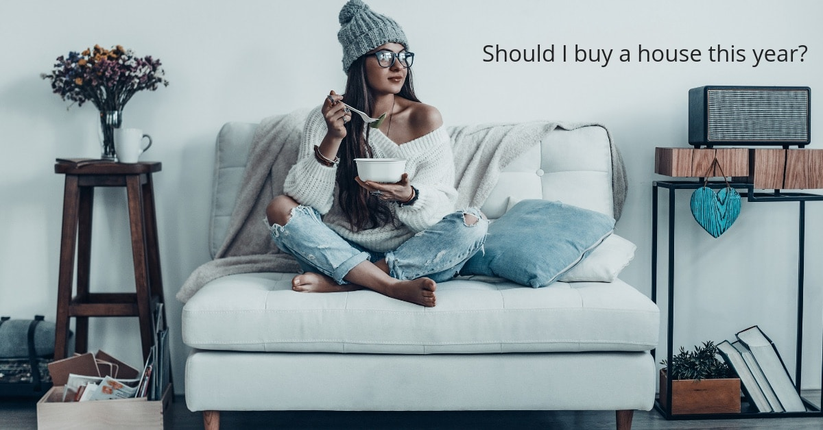 Young Woman Eating On Couch Thinking About Buying House