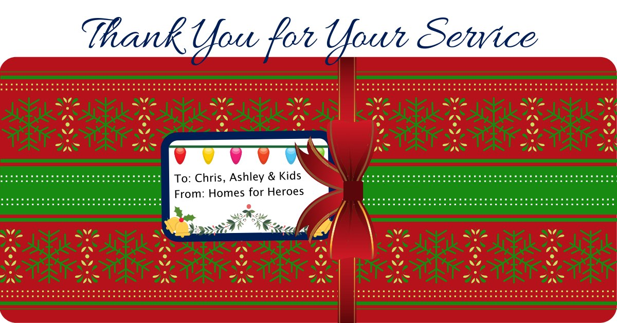 Day 4 Homes for Heroes Twelve Days of Christmas Miracles Displaced Vet Family Received 500 Gift