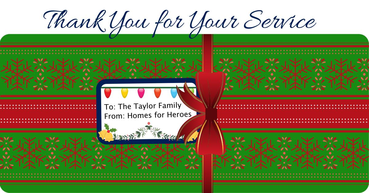 Twelve Days of Christmas Miracles-Homes for Heroes-$500 Gift for Brent Taylor Family