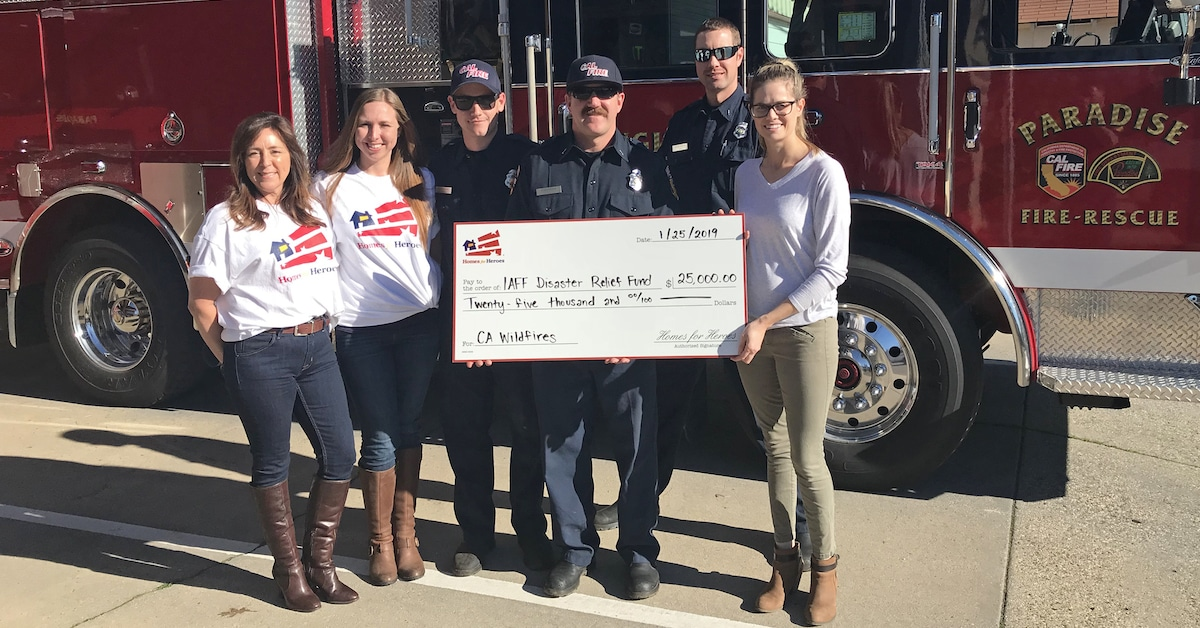 Paradise Strong Camp Fire Cal Fire Firefighters 25,000 Donation from Homes for Heroes Foundation