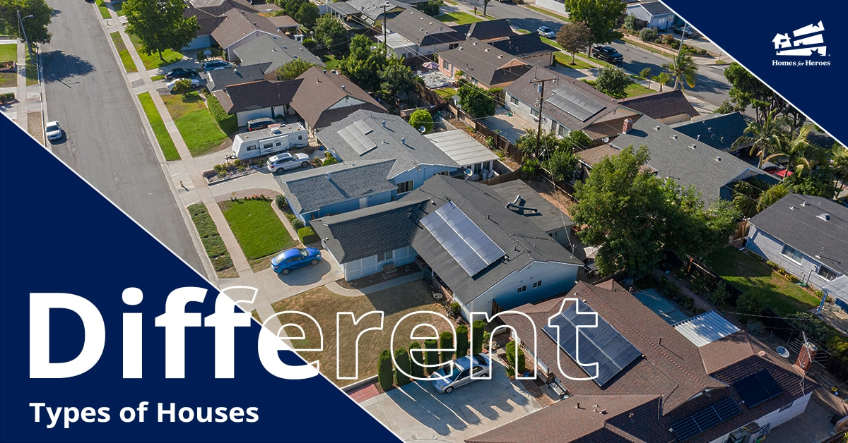 Aerial medium view of single family homes in a neighborhood