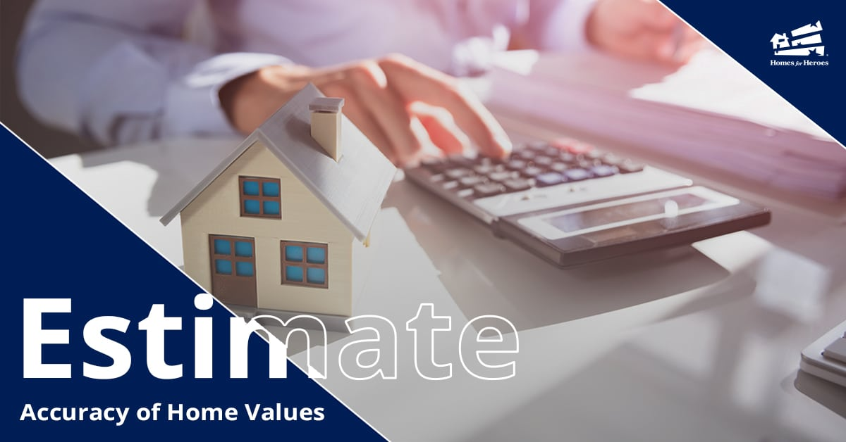 Home Value Estimates Homes for Heroes Person on Calculator at Desk