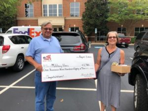 Man and woman holding large savings check in parking lot