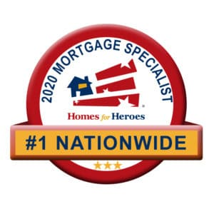 Badge stating #1 Nationwide 2020 mortgage specialist homes for heroes