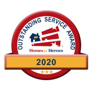 Badge stating 2020 outstanding service award homes for heroes