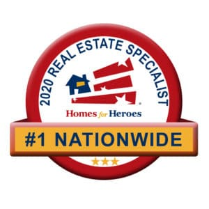 Badge stating #1 Nationwide 2020 real estate specialist homes for heroes