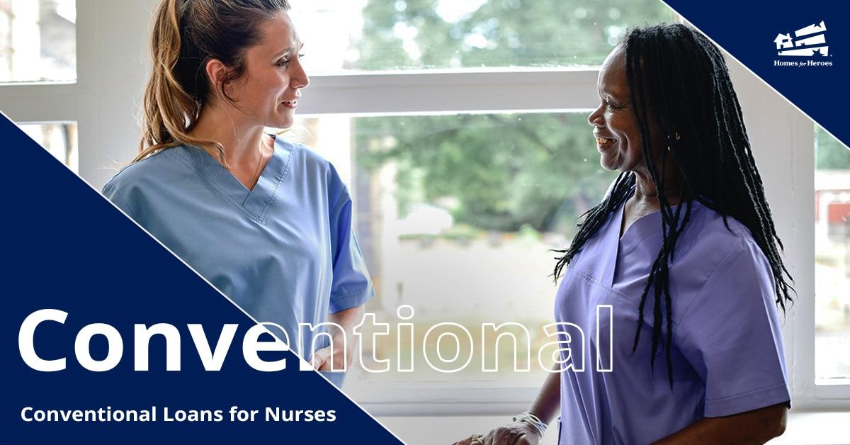 Two women nurses talking in scrubs in front of a hospital window