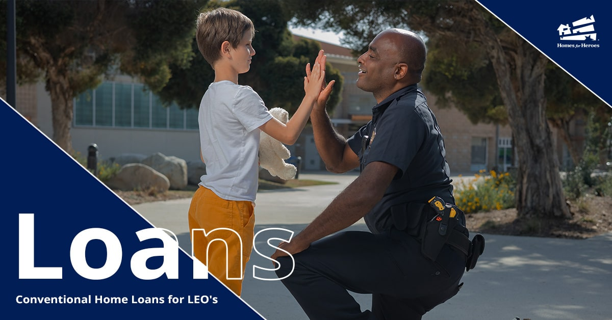 Law Enforcement Officer in uniform kneeling and high fiving a little boy with his teddy bear