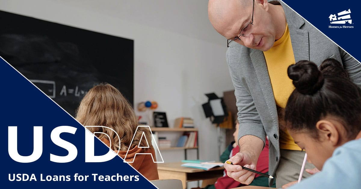 Male teacher leans over a desk of a female student to help with assignment