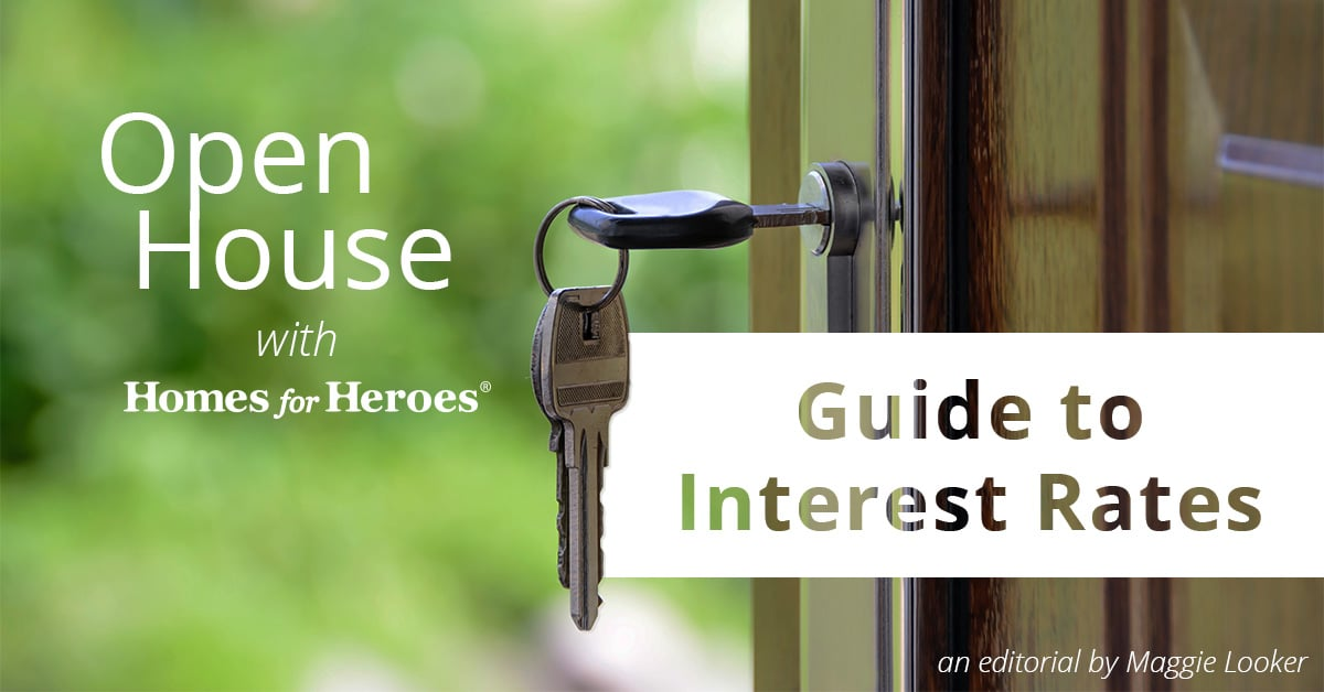 front door of a home open with a key in the lock that says guide to interest rates