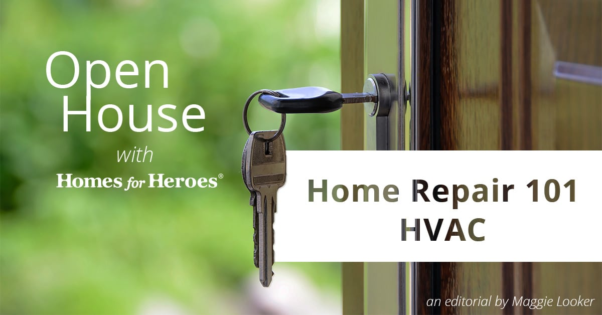 Front door open wide with key in the lock and the title Open House Home Repair 1010 HVAC in text