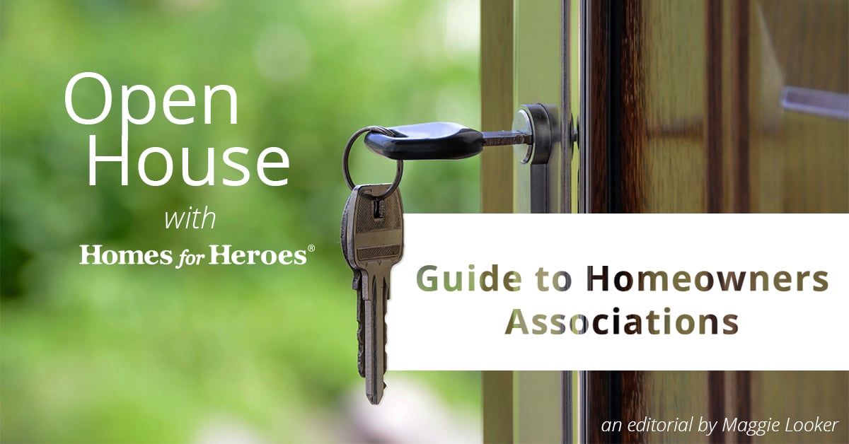 front door open with a key in the lock with the blog title Open House: Guide to Homeowner Association overlaid