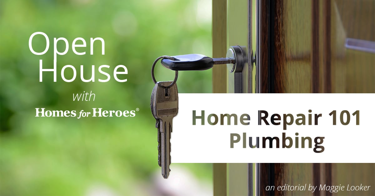 Front door on a house is open with trees in the background and a key still in the lock. The blog title Home Repair 101 Plumbing is overlaid on the door