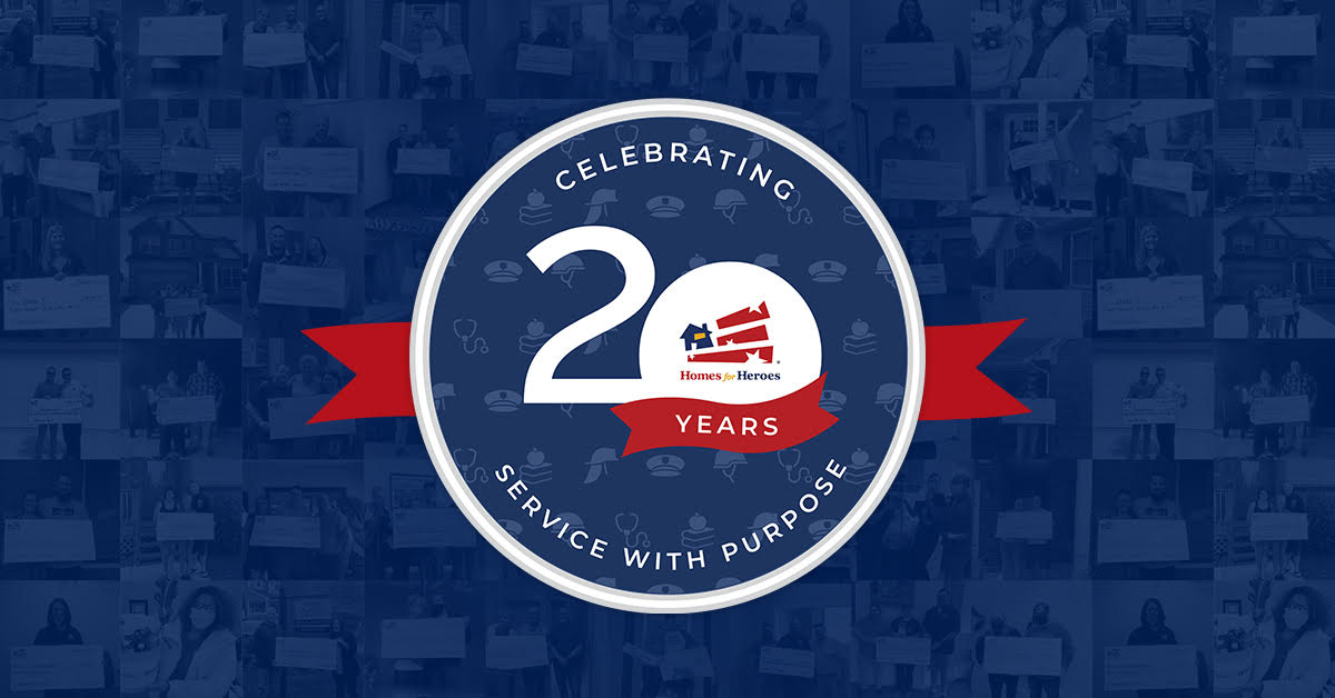 20 Years Service with Purpose Homes for Heroes Logo