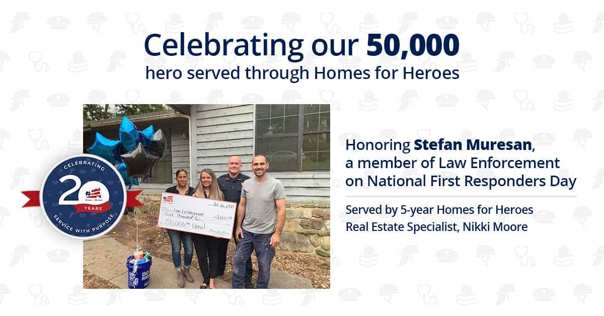 Homes for Heroes' 50,000th Hero Served poses with a giant check and his real estate agent, FOP president of Tennessee outside of his home